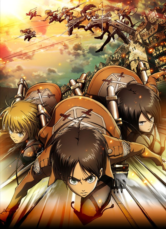 The main character's (from left to right) Armin, Eren and Mikasa