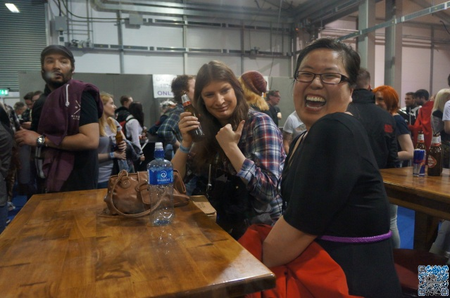 Nerdgeist Writers Siobhan & May enjoying a drink at Belfast Comic Con