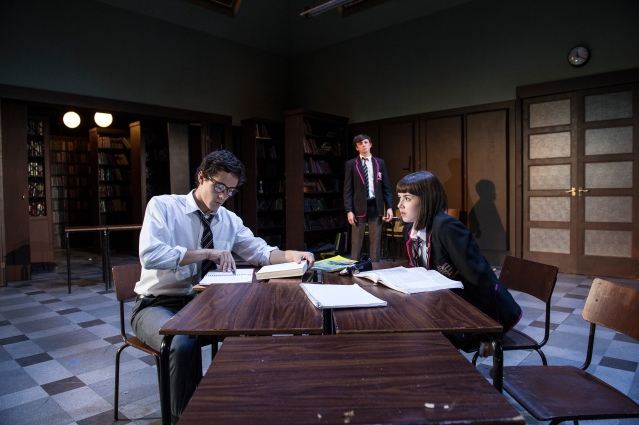 Jonah Hauer-King, Rhys Dunlop and Lauren Coe in a scene from Punk Rock at the  Lyric Theatre until 6 September. Lyrictheatre.co.uk