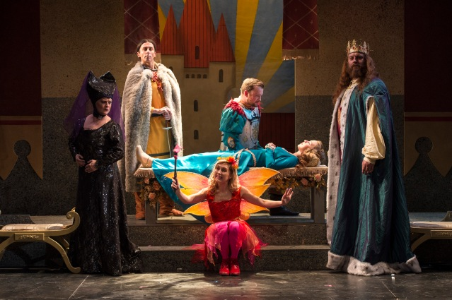 The cast of Sleeping Beauty – L to R - – Jo Donnelly, Tommy Wallace, Kathryn Aiken, Sam T  McKee, Beccy Henderson and Richard Ashton