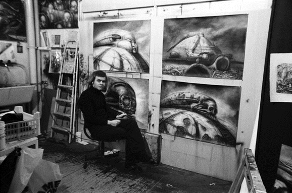 H.R.Giger with some of his Dune work