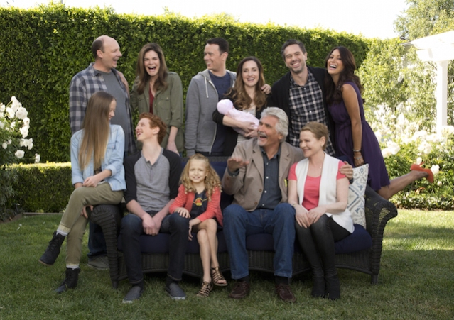 LIFE IN PIECES, premiering Monday, Sept. 21, (8:30-9:00 PM, ET/PT), is CBS's new single camera comedy about one big happy family and their sometimes awkward, often hilarious and ultimately beautiful milestone moments as told by its various members. Series moves to Thursdays 8:30-9:00 PM,ET/PT November 5, on the CBS Television Network. Pictured L-R, Top Row: Dan Bakkedahl as Tim, Betsy Brandt as Heather, Colin Hanks as Greg, Zoe Lister Jones as Jen, Thomas Sadoski as Matt and Angelique Cabral as Colleen; Pictured L-R, Bottom Row: Holly Barrett as Samantha, Niall Cunningham as Tyler, Giselle Eisenberg as Sophia, James Brolin as John and Diane Wiest as Joan Photo: Cliff Lipson/CBS ©2015 CBS Broadcasting, Inc. All Rights Reserved