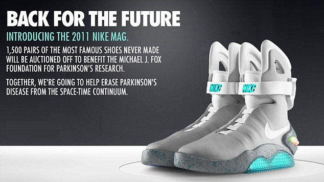They are probably the most famous trainers in movie history - now the Nike Mags have been released for real on eBay to raise money for the Michael J Fox Foundation for Parkinson's Research. Bids for the Back to the Future 2 trainers - which Michael J Fox's iconic character Marty McFly wore in the movie - are already over $75,000 for one pair. They were unveiled by Fox himself on the David Letterman talk show on Thursday night. Only 1,500 pairs of the trainers, which light-up for up to 5 hours, will be sold. All the proceeds will go to the foundation and will be matched by other contributors, for up to $50m. The actor, who recently turned 50, has been battling the condition since the 1990s. Ref: SPL313635 080911 Picture by: eBay / Nike / Splash News Splash News and Pictures Los Angeles: 310-821-2666 New York: 212-619-2666 London: 870-934-2666 photodesk@splashnews.com