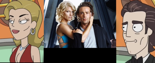 Tricia Helfer and James Callis as Tammy's parents