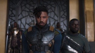 Marvel Studios' BLACK PANTHER..L to R: Erik Killmonger (Michael B. Jordan) and W'Kabi (Daniel Kaluuya)..Ph: Film Frame..©Marvel Studios 2018